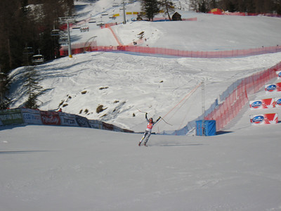 Lindsey Vonn rockets into the Cortina finish to celebreate her 7th World Cup win this season (Doug Haney/U.S. Ski Team)