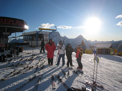 Coaches hang out near the top of the super G slope in Cortina (Doug Haney/U.S. Ski Team)