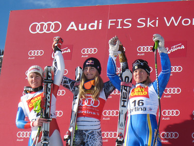 Fabienne Suter, Lindsey Vonn and Anja Paerson on the super G podium in Cortina (Doug Haney/U.S. Ski Team)
