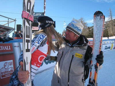 U.S. Ski Team coach Frank Kelbl congratulates Lindsey Vonn after her super G win in Cortina (Doug Haney/U.S. Ski Team)