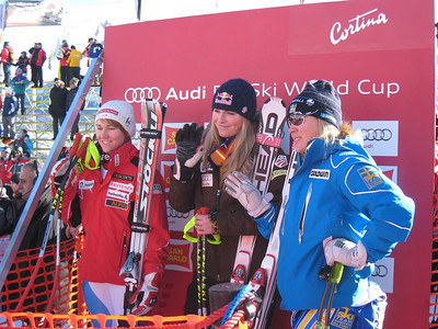 Fabienne Suter, Lindsey Vonn and Anja Paerson in the leader box for the Cortina super G (Doug Haney/U.S. Ski Team)