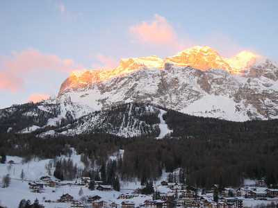 Sun rise over the World Cup slope in Cortina (Doug Haney/U.S. Ski Team)