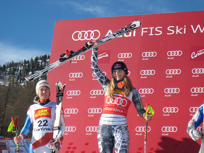 Lindsey Vonn celebrates super G victory in Cortina (Doug Haney/U.S. Ski Team)