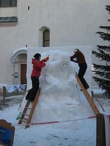 Snow carvers in downtown Cortina (Doug Haney/U.S. Ski Team)