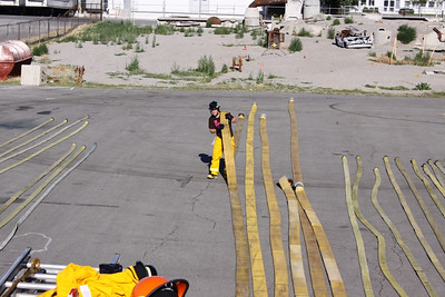 Ted Ligety firefighter training with the SLCFD  Photo: Jay Dyal, Media Specialist, SLCFD