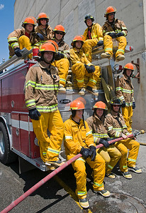 The men's alpine athletes of the U.S. Ski Team pose on an engine truck after training with the Salt Lake City Fire Department. Photo: Tom Kelly/U.S. Ski Team
