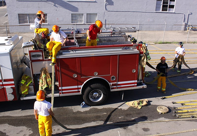 The men's U.S. Alpine Ski Team firefighter training with the SLCFD  Photo: Jay Dyal, Media Specialist, SLCFD