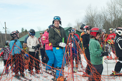 Olympic gold medalist Ted Ligety at Mt. Pisgah in Saranac Lake, NY during a fundraising event to help the Village owned ski area buy a new T-Bar. U.S. Ski Team athletes skied and signed autographs at Mt. Pisgah one day prior to the 2010 Visa U.S. Alpine Championships at nearby Whiteface Mountain (Jon Margolis Photography)