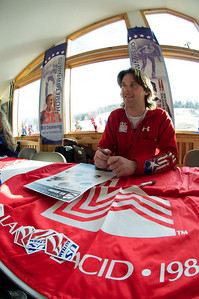 2010 Olympian Will Brandenburg at Mt. Pisgah in Saranac Lake, NY during a fundraising event to help the Village owned ski area buy a new T-Bar. U.S. Ski Team athletes skied and signed autographs at Mt. Pisgah one day prior to the 2010 Visa U.S. Alpine Championships at nearby Whiteface Mountain (Jon Margolis Photography)
