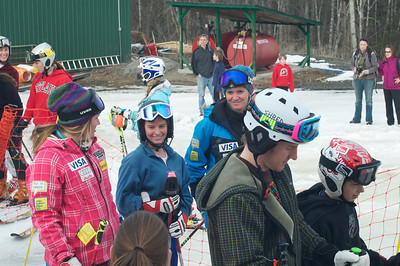 Alice McKennis (l), Keely Kelleher (r) and Ted Ligety (front) at Mt. Pisgah in Saranac Lake, NY during a fundraising event to help the Village owned ski area buy a new T-Bar. U.S. Ski Team athletes skied and signed autographs at Mt. Pisgah one day prior to the 2010 Visa U.S. Alpine Championships at nearby Whiteface Mountain (Jon Margolis Photography)
