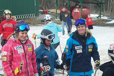 Alice McKennis (l) and Keely Kelleher (r) at Mt. Pisgah in Saranac Lake, NY during a fundraising event to help the Village owned ski area buy a new T-Bar. U.S. Ski Team athletes skied and signed autographs at Mt. Pisgah one day prior to the 2010 Visa U.S. Alpine Championships at nearby Whiteface Mountain (Jon Margolis Photography)