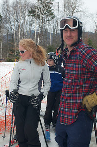 Two-time Olympian Jimmy Cochran (r) at Mt. Pisgah in Saranac Lake, NY during a fundraising event to help the Village owned ski area buy a new T-Bar. U.S. Ski Team athletes skied and signed autographs at Mt. Pisgah one day prior to the 2010 Visa U.S. Alpine Championships at nearby Whiteface Mountain (Jon Margolis Photography)