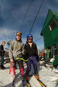 Young skiers board the lift at Mt. Pisgah in Saranac Lake, NY during a fundraising event to help the Village owned ski area buy a new T-Bar. U.S. Ski Team athletes skied and signed autographs at Mt. Pisgah one day prior to the 2010 Visa U.S. Alpine Championships at nearby Whiteface Mountain (Jon Margolis Photography)