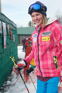 Alice McKennis boards the lift at Mt. Pisgah in Saranac Lake, NY during a fundraising event to help the Village owned ski area buy a new T-Bar. U.S. Ski Team athletes skied and signed autographs at Mt. Pisgah one day prior to the 2010 Visa U.S. Alpine Championships at nearby Whiteface Mountain (Jon Margolis Photography)