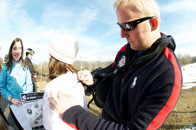 Olympic bronze medalist Andrew Weibrecht at Mt. Pisgah in Saranac Lake, NY during a fundraising event to help the Village owned ski area buy a new T-Bar. U.S. Ski Team athletes skied and signed autographs at Mt. Pisgah one day prior to the 2010 Visa U.S. Alpine Championships at nearby Whiteface Mountain (Jon Margolis Photography)