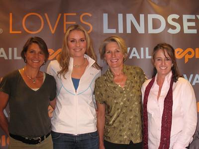(l-r) U.S. Ski Team greats Christin Cooper, Lindsey Vonn, Cindy Nelson and Tamara McKinney at the Vonn pep rally in Vail (Doug Haney/U.S. Ski Team)
