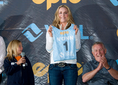 Nellie Talbot presents U.S. Ski Team member Lindsey Vonn with a ski bib during the Vail to Vancouver Celebration held in Vail, CO on 8/21/09.  The rally was held to wish Vonn good luck in the 2010 Winter Olympics being held in Vancouver, Canada.