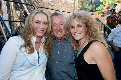 Lindsey Vonn, Bob Beattie and Sarah Schleper at the Lindsey Vonn pep rally at Vail, CO on Aug. 21, 2008