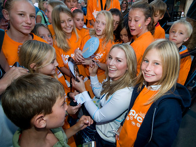 U.S. Ski Team member Lindsey Vonn signs autographs for young fans during the Vail to Vancouver Celebration held in Vail, CO on 8/21/09.  The rally was held to wish Vonn good luck in the 2010 Winter Olympics being held in Vancouver, Canada.