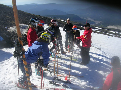 Jim Tracy, Head Women's Alpine Coach; on hill with NDS X-Factor athletes. Photo: T. DelliQuadri