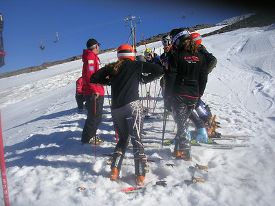 Jim Tracy, Head Alpine Women's Coach, On  the hill with NDS X-Factor athletes. Photo: T. DelliQuadri