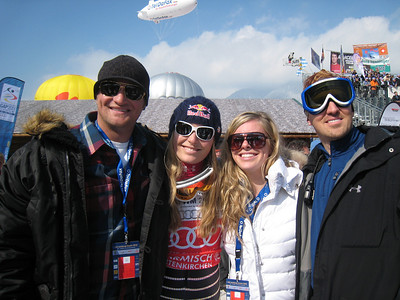 Vonn with family after securing her third straight World Cup overall title in Garmisch (Doug Haney/U.S. Ski Team)