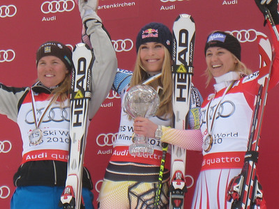 The top three women in the 2010 World Cup super combined standings - Lindsey Vonn (c), Anja Paerson (l) and Michaela Kirchgasser (Doug Haney/U.S. Ski Team)