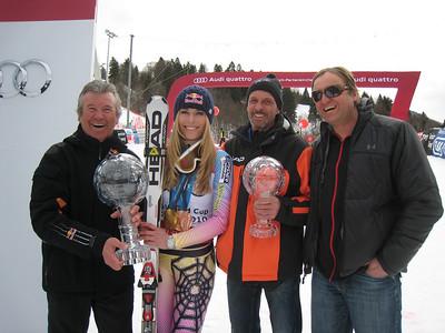 Lindsey Vonn with Robert Trenkwalder (Red Bull), Heinz Hemmerle (Head) and Martin Hager (Red Bull) (Doug Haney/U.S. Ski Team)