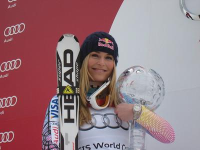 Lindsey Vonn poses with the 2010 Audi FIS World Cup overall crystal globe (Doug Haney/U.S. Ski Team)