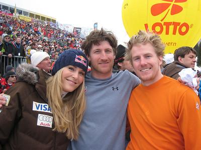 Lindsey Vonn, Jimmy Cochran and Ted Ligety after the World Cup Finals slalom (Doug Haney/U.S. Ski Team)