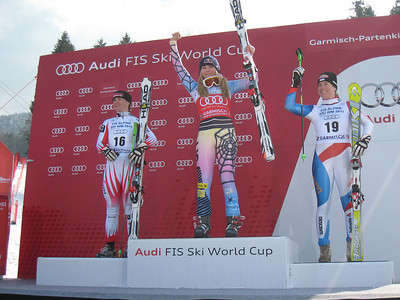 Lindsey Vonn holds her second consecutive World Cup super G title following an overall World Cup clinching victory in Garmisch. It was also an American record 33rd World Cup win and set a new single season win record with 11 (Doug Haney/U.S. Ski Team)
