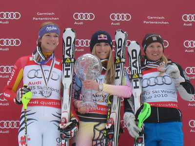 Maria Riesch, Lindsey Vonn and Anja Paerson finished 2-1-3 in the 2010 Audi FIS World Cup overall standings (Doug Haney/U.S. Ski Team)