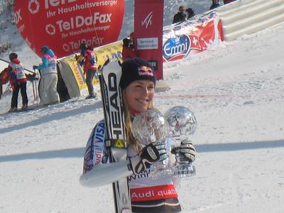 Lindsey Vonn holds both her downhill and super G crystal globes in Garmisch (Doug Haney/U.S. Ski Team)