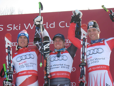 Ted Ligety following the second World Cup giant slalom crystal globe of his career with Swiss Carlo Janka (l) and Austrian Benni Raich (r) (Doug Haney/U.S. Ski Team)