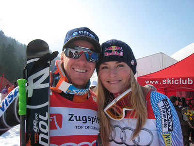 Ted Ligety and Lindsey Vonn following the globe ceremonies for the World Cup giant slalom and super G titles (Doug Haney/U.S. Ski Team)