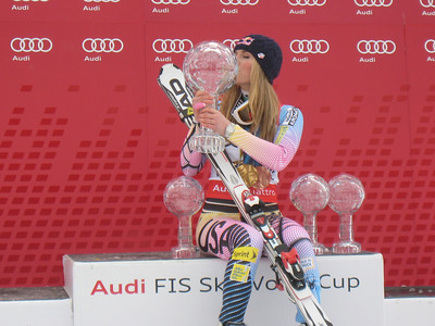 Lindsey Vonn poses with her 2010 World Cup crystal globes (overall, downhill, super G and super combined) along with her 2010 Olympic downhill gold and super G bronze (Doug Haney/U.S. Ski Team)