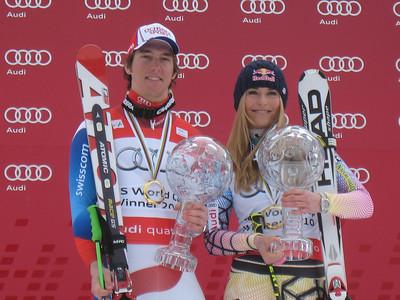 Carlo Janka of Switzerland and Lindsey Vonn, the 2010 Audi FIS World Cup Overall Champions (Doug Haney/U.S. Ski Team)