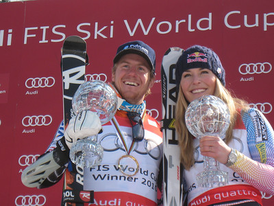 Ted Ligety and Lindsey Vonn show off their World Cup overall titles for giant slalom and super G in Garmisch (Doug Haney/U.S. Ski Team)