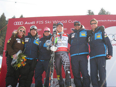 The U.S. Ski Team men's coaching staff with Ted Ligety following his second World Cup giant slalom title. (l-r) Christa Riepe, Sasha Rearick, Peter Korfiatis, Ted Ligety, Rudi Soulard and Mike Kenney (Doug Haney/U.S. Ski Team)