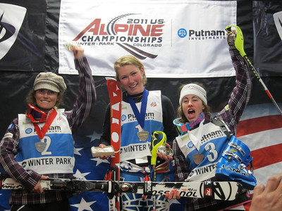 Mikaela Shiffrin (center) after winning the women's slalom title at the Putnam Investments U.S. Alpine Championships. She is flanked by Sarah Schleper (l) and Resi Stiegler (r) (Doug Haney/U.S. Ski Team)