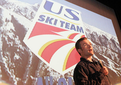 Emcee and snowboarding Olympic bronze medalist Chris Klug fires up the crowd during a U.S. Ski Team shool visit in Aspen (Aspen/Snowmass - Heather Rousseau)
