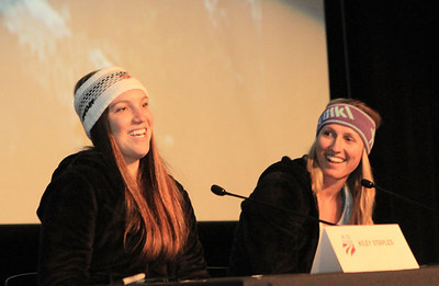 Kiley Staples (l) and Hailey Duke during a school visit prior to the Visa Aspen Winternational (Aspen/Snowmass - Heather Rousseau)