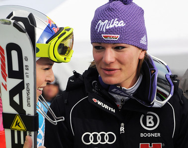 Lindsey Vonn talks with friend Maria Riesch during the Visa Aspen Winternational in the Audi FIS World Cup at Aspen, Colorado.
