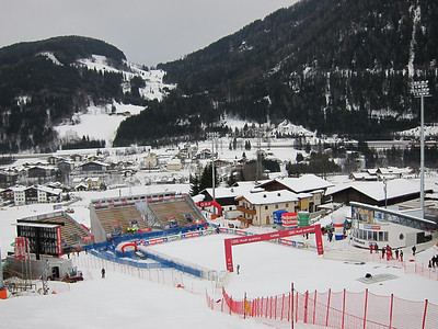 Flachau makes final preparations to the fnish stadium before the women's slalom night race (Doug Haney/U.S. Ski Team)