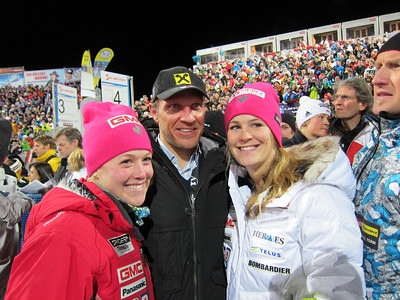 Canadian skiers Erin Mielzynski (l) and Anna Goodman with Hermann Maier in Flachau (Doug Haney/U.S. Ski Team)