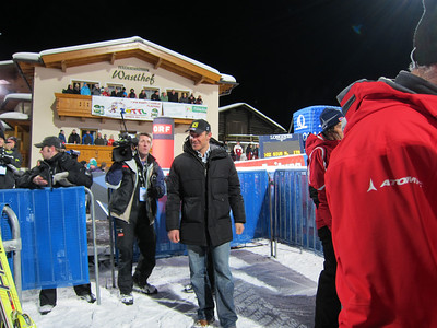 Austrian legend Hermann Maier strolls into the Flachau finish area for the Flachau night slalom (Doug Haney/U.S. Ski Team)
