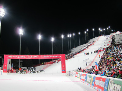 15,000 fans flood the Hermann Maier race slope in Flachau for the women's night slalom (Doug Haney/U.S. Ski Team)
