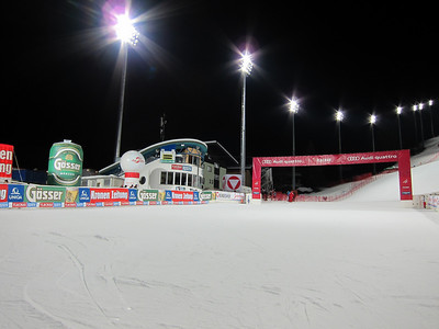 A clean finish area after Monday night's free ski (Doug Haney/U.S. Ski Team)