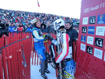 Swede Mattias Hargin is congratulated by Nolan Kasper after his run of slalom (Doug Haney/U.S. Ski Team)