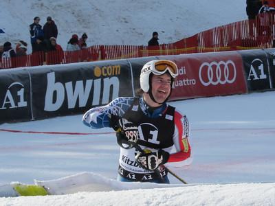 Nolan Kasper checks his time after finishing 21st in the firsrt run of slalom in Kitzbuehel (Doug Haney/U.S. Ski Team)